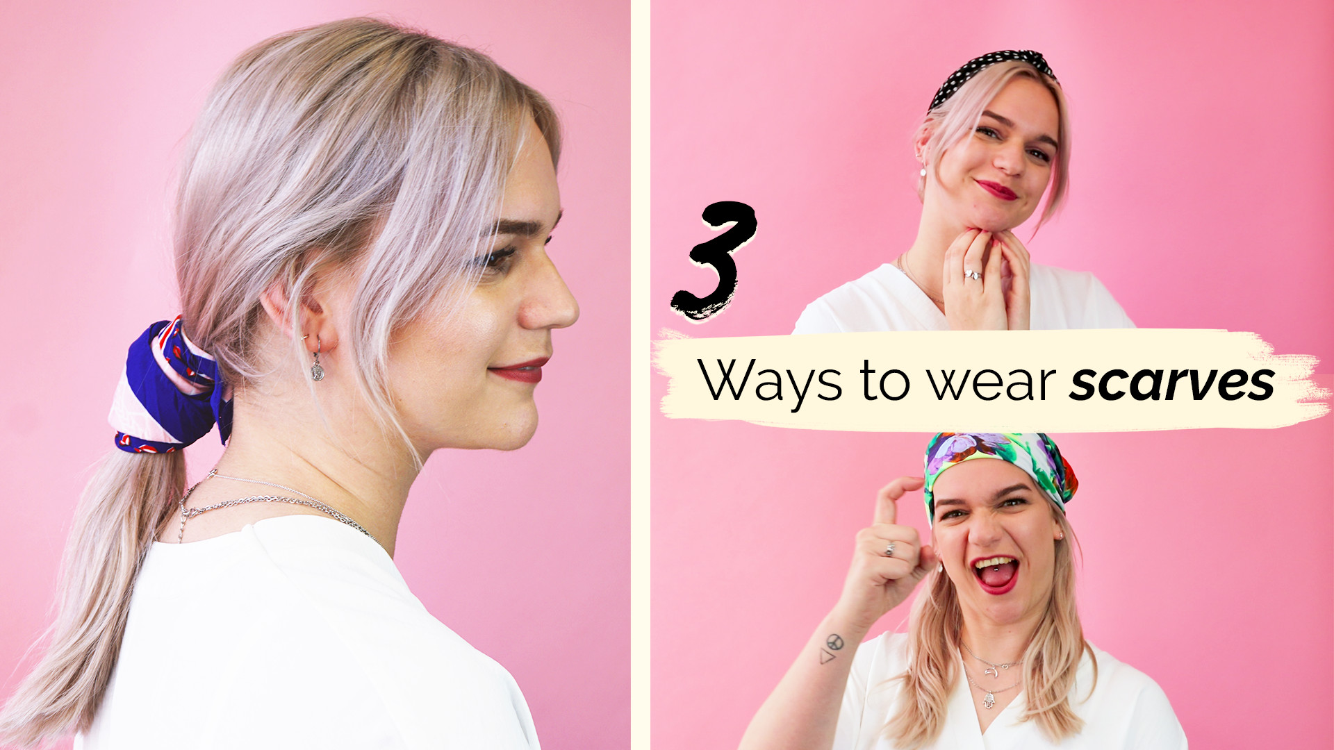 3 ways to wear hair scarves